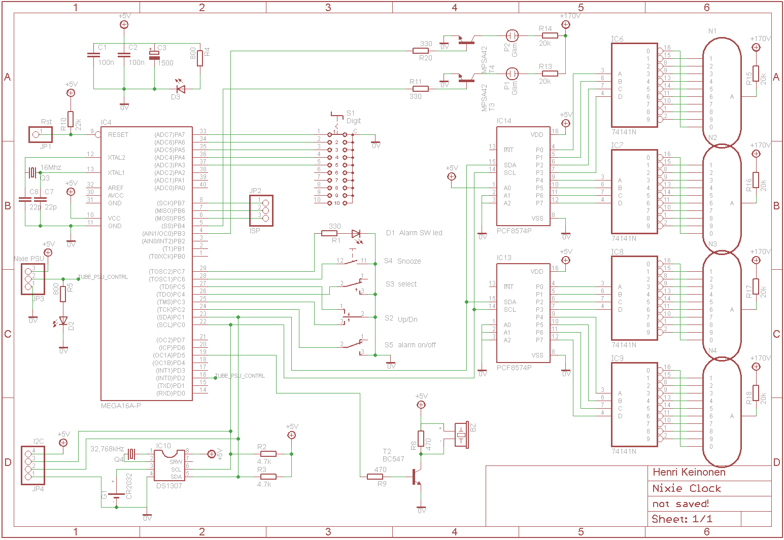 Nixie-Clock Nixie Tube Power Supply Schematic on